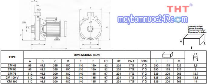 Sơ đồ cấu tạo máy bơm dân dụng Pentax CM 100 1HP