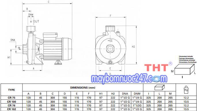 Sơ đồ cấu tạo máy bơm dân dụng Pentax CR 100 1HP
